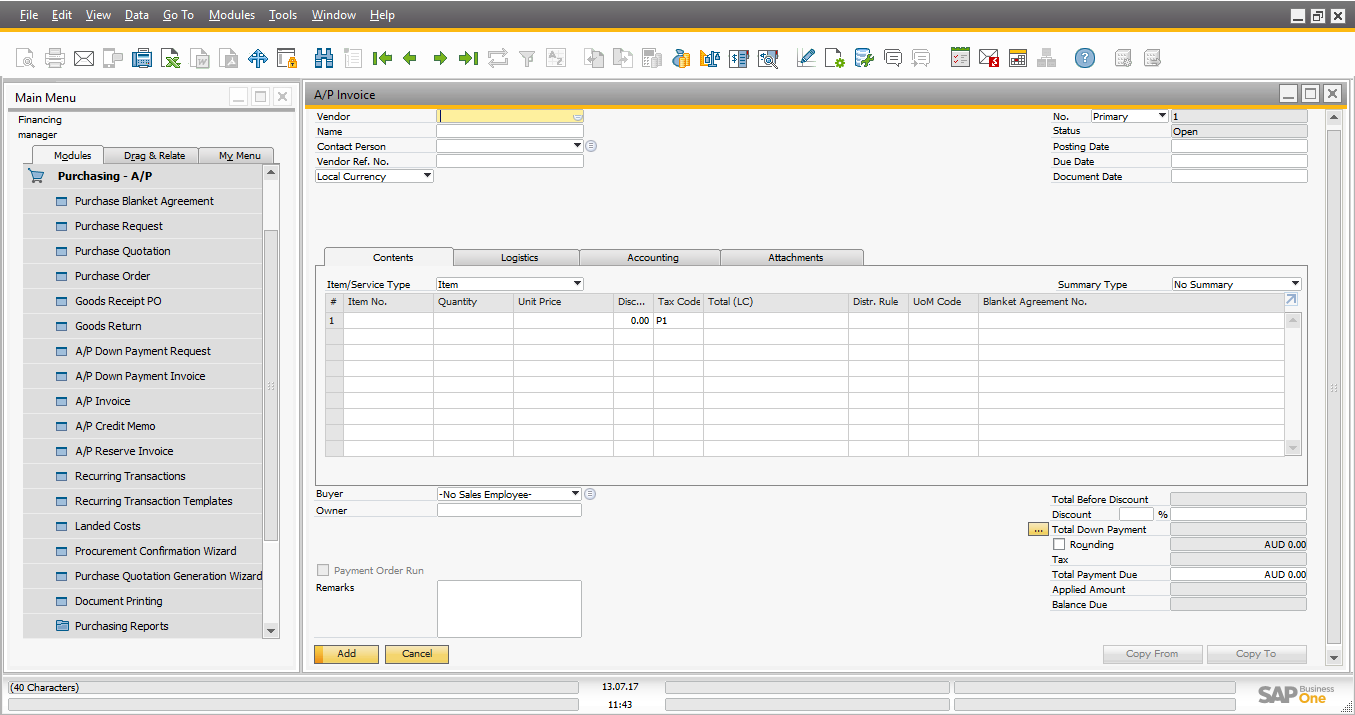 SAP Accounting Software AP Invoice